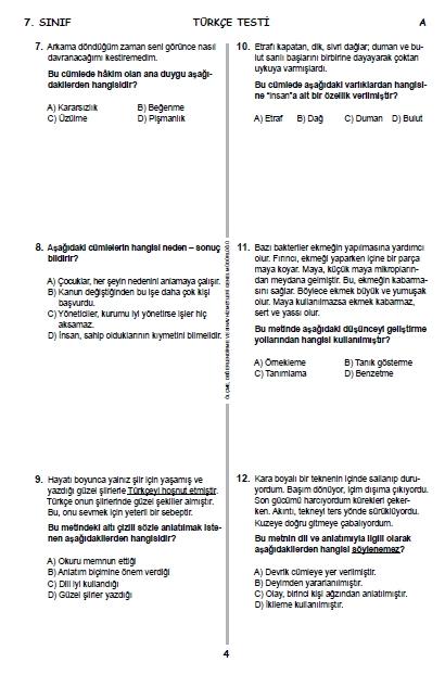 2015 7. Sınıf PYBS - Bursluluk Sınav Soruları ve Cevap Anahtarı 3