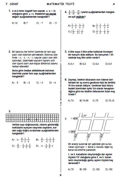 2015 7. Sınıf PYBS - Bursluluk Sınav Soruları ve Cevap Anahtarı 7