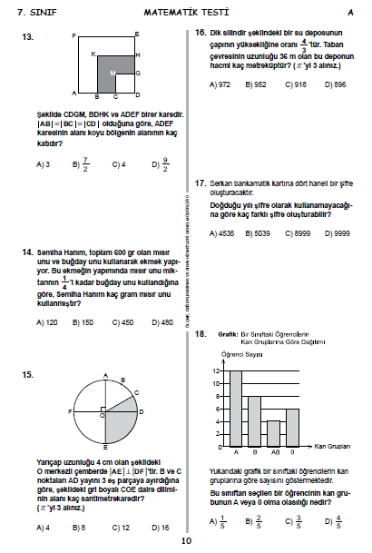 2015 7. Sınıf PYBS - Bursluluk Sınav Soruları ve Cevap Anahtarı 9