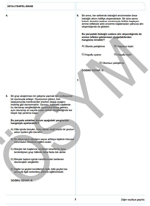 2015 LYS-4 Sosyal Bilimler Sınav Soruları ve Cevap Anahtarı 12
