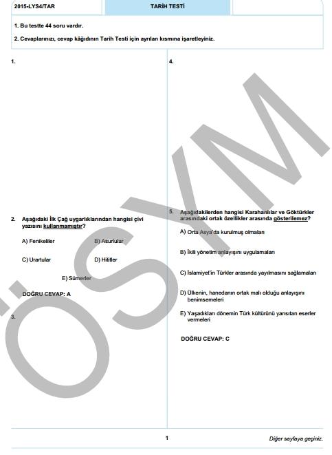 2015 LYS-4 Sosyal Bilimler Sınav Soruları ve Cevap Anahtarı 2