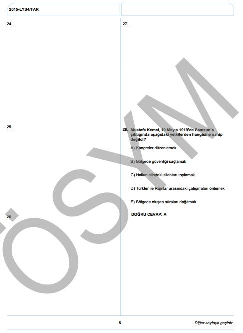 2015 LYS-4 Sosyal Bilimler Sınav Soruları ve Cevap Anahtarı 5
