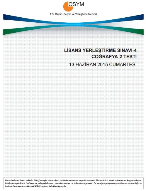 2015 LYS-4 Sosyal Bilimler Sınav Soruları ve Cevap Anahtarı 7