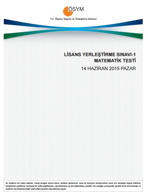 2015 LYS-1 (Matematik-Geometri) Soru ve Cevap Anahtarı 1