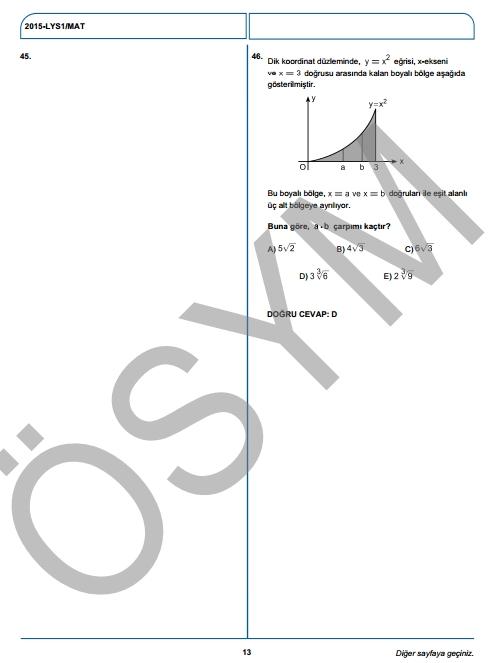 2015 LYS-1 (Matematik-Geometri) Soru ve Cevap Anahtarı 10