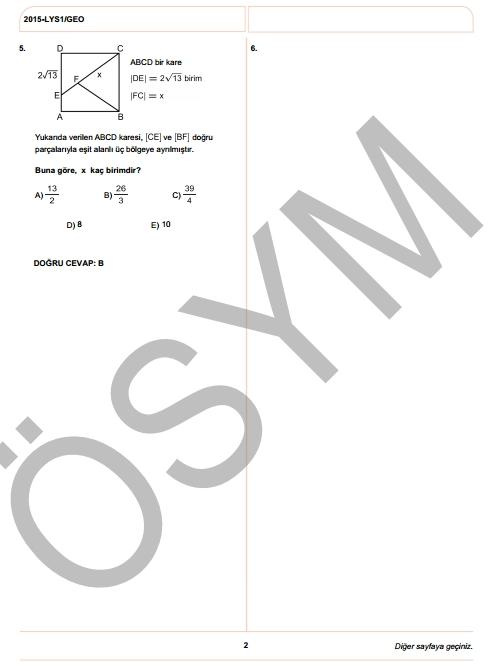 2015 LYS-1 (Matematik-Geometri) Soru ve Cevap Anahtarı 12