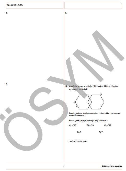 2015 LYS-1 (Matematik-Geometri) Soru ve Cevap Anahtarı 13