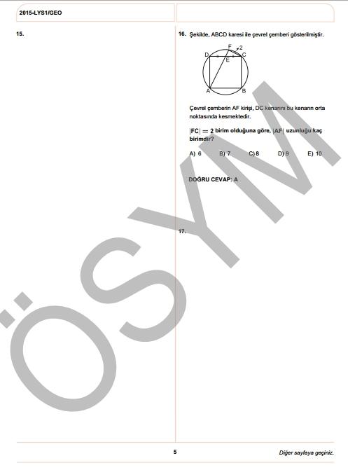 2015 LYS-1 (Matematik-Geometri) Soru ve Cevap Anahtarı 14