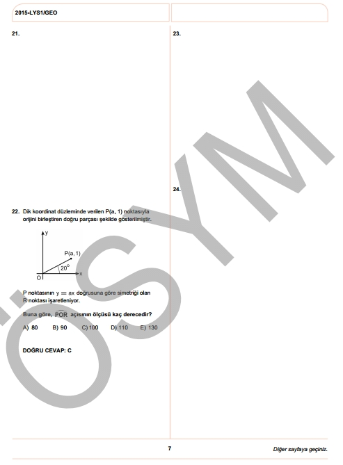 2015 LYS-1 (Matematik-Geometri) Soru ve Cevap Anahtarı 16