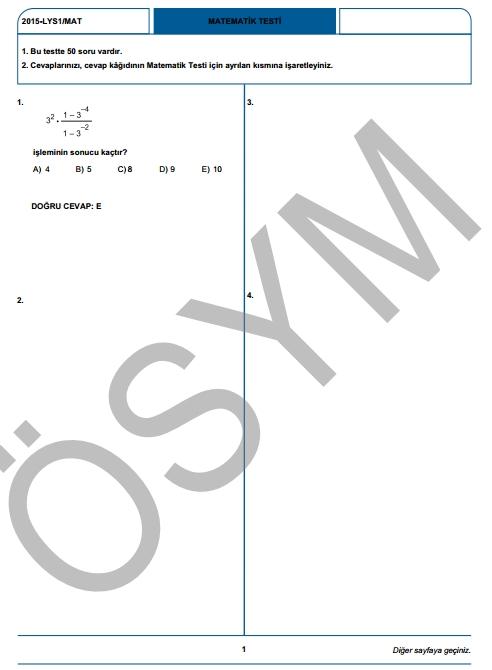 2015 LYS-1 (Matematik-Geometri) Soru ve Cevap Anahtarı 2