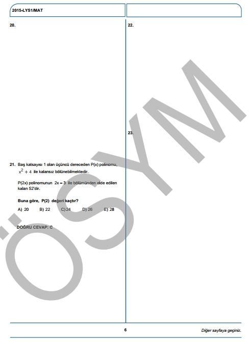 2015 LYS-1 (Matematik-Geometri) Soru ve Cevap Anahtarı 5