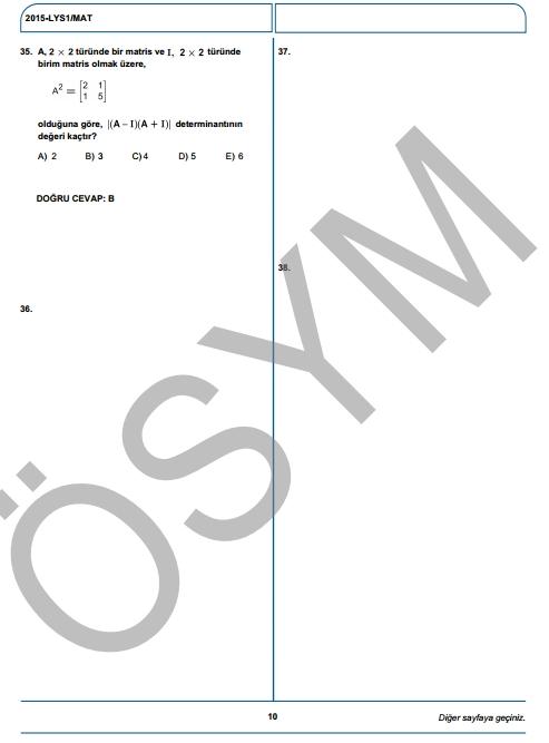 2015 LYS-1 (Matematik-Geometri) Soru ve Cevap Anahtarı 8