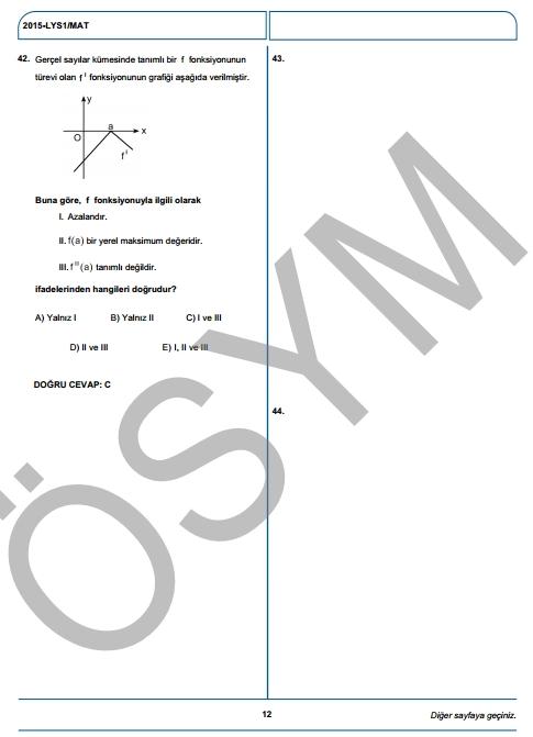 2015 LYS-1 (Matematik-Geometri) Soru ve Cevap Anahtarı 9