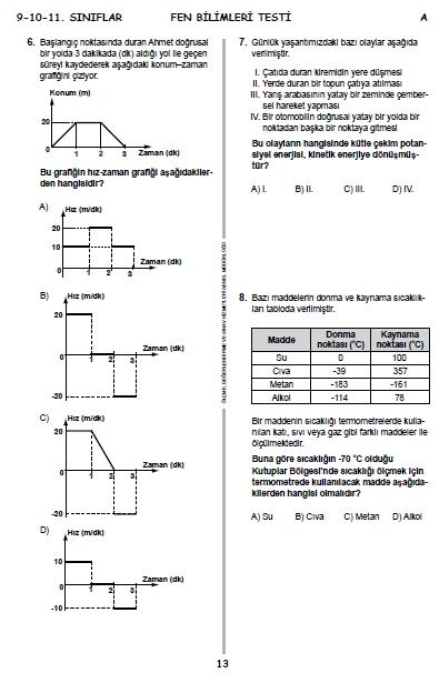 2015 9. Sınıf PYBS - Bursluluk Sınav Soruları ve Cevap Anahtarı 11