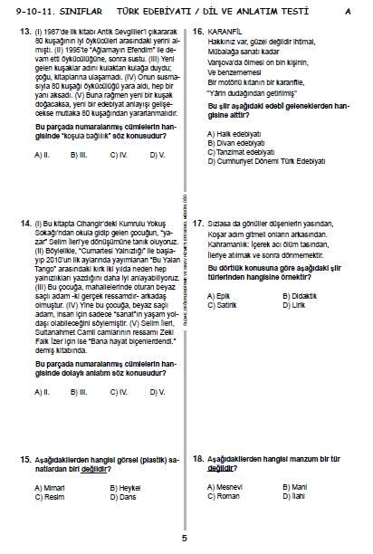 2015 9. Sınıf PYBS - Bursluluk Sınav Soruları ve Cevap Anahtarı 4
