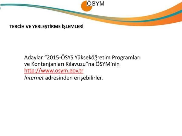 2015 YGS-LYS Kontenjanları, Tercih ve Yerleştirme İşlemleri 6