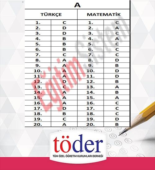 Kasım 2016 Töder TEOG Sınav Soruları ve Cevap Anahtarı 2