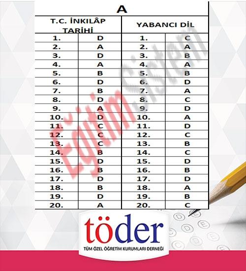 Kasım 2016 Töder TEOG Sınav Soruları ve Cevap Anahtarı 4
