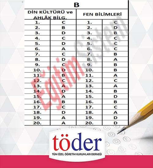 Kasım 2016 Töder TEOG Sınav Soruları ve Cevap Anahtarı 7
