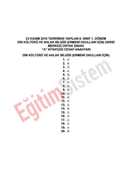 Kasım 2016 1. TEOG Soru ve Cevap Anahtarı 18