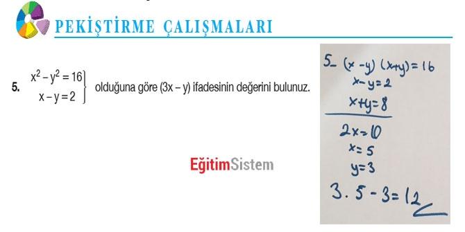 11. Sınıf Matematik Sayfa 108-109 Cevapları 7