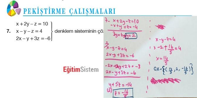 11. Sınıf Matematik Sayfa 108-109 Cevapları 9
