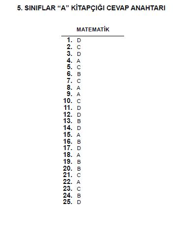 5. Sınıf PYBS - Bursluluk Cevap Anahtarı - 10 Haziran 2012 3