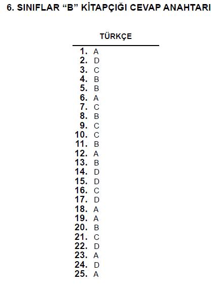 6. Sınıf PYBS - Bursluluk Cevap Anahtarı - 10 Haziran 2012 6