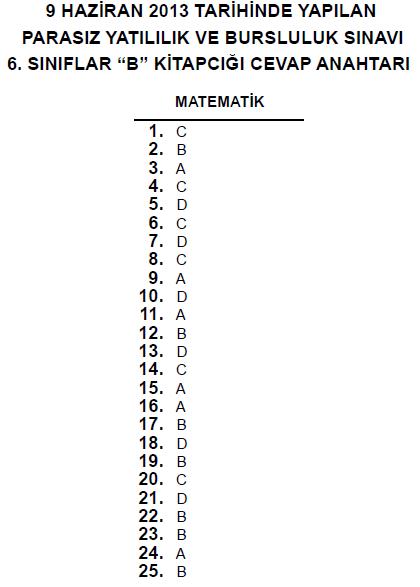 6. Sınıf PYBS - Bursluluk Cevap Anahtarı - 9 Haziran 2013 9