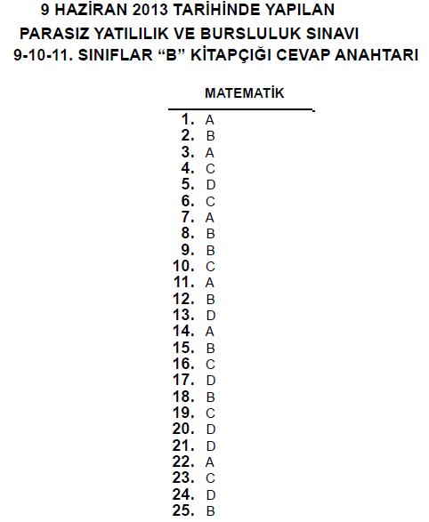 9 Haziran 2013 10. Sınıf PYBS - Bursluluk Cevap Anahtarı - MEB 8