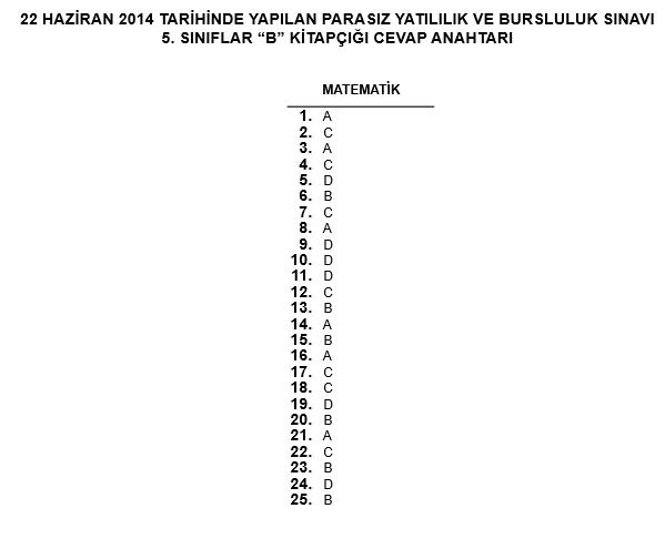 5. Sınıf PYBS - Bursluluk Cevap Anahtarı - 22 Haziran 2014 9