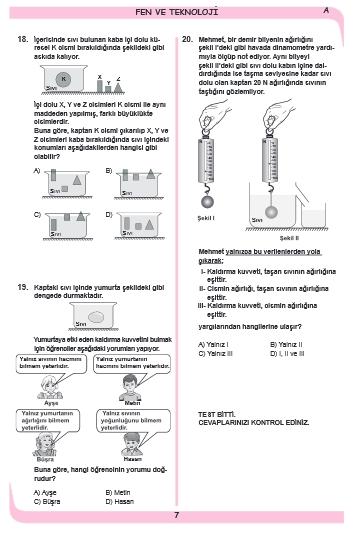27 Kasım 2014 8. Sınıf 1. Dönem Fen ve Teknoloji Sınav Soruları ve Cevap 7