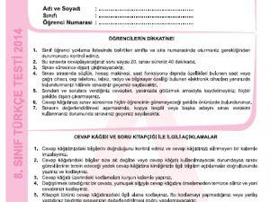 26 Kasım 2014 8. Sınıf 1. Dönem Türkçe Sınav Soruları ve Cevapları