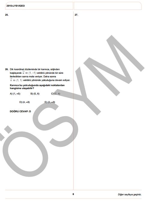 2015 LYS-1 (Matematik-Geometri) Soru ve Cevap Anahtarı 17