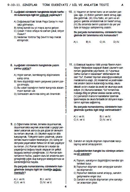 2015 9. Sınıf PYBS - Bursluluk Sınav Soruları ve Cevap Anahtarı 3