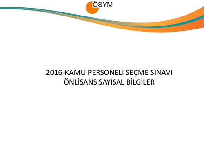 KPSS Ön Lisans Sınav Sonuçlarına İlişkin Sayısal Bilgiler 1