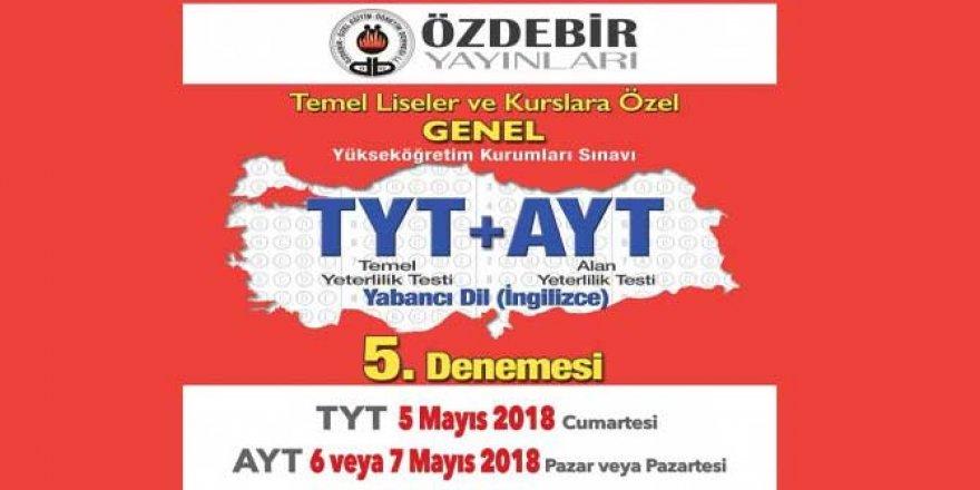 2018 Özdebir YKS 5. Deneme Sınavı Cevap Anahtarı