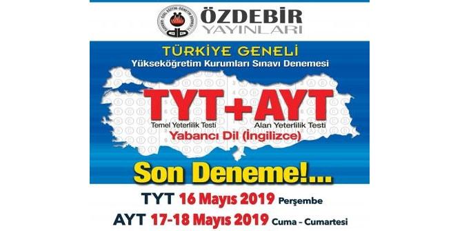 16-17-18 Mayıs Özdebir 6. YKS Deneme Sınavı Cevap Anahtarı 1