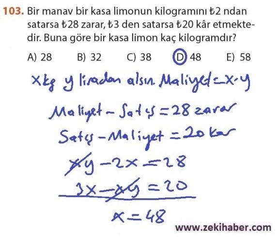 9. Sınıf Meb Matematik Sayfa 184-194 Cevapları 103