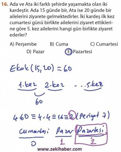 9. Sınıf Meb Matematik Sayfa 184-194 Cevapları 16
