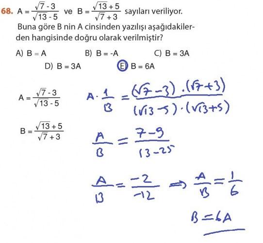 9. Sınıf Meb Matematik Sayfa 184-194 Cevapları 68