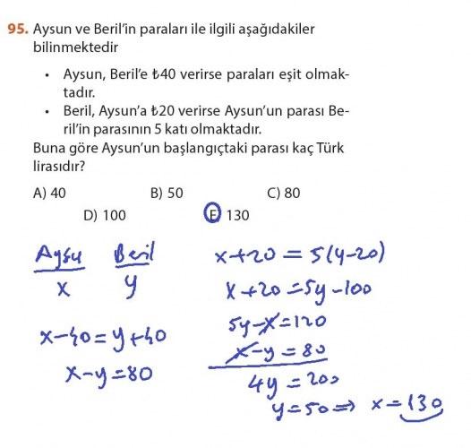 9. Sınıf Meb Matematik Sayfa 184-194 Cevapları 95