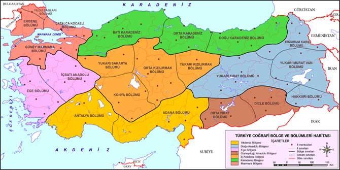 Türkiye'nin bölgeleri ve bölümleri nelerdir